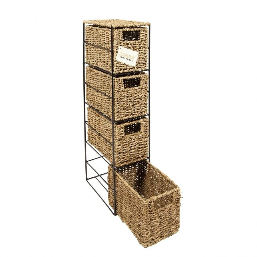Woodluv Opulent 4 drawers Natural Seagrass Storage Tower
