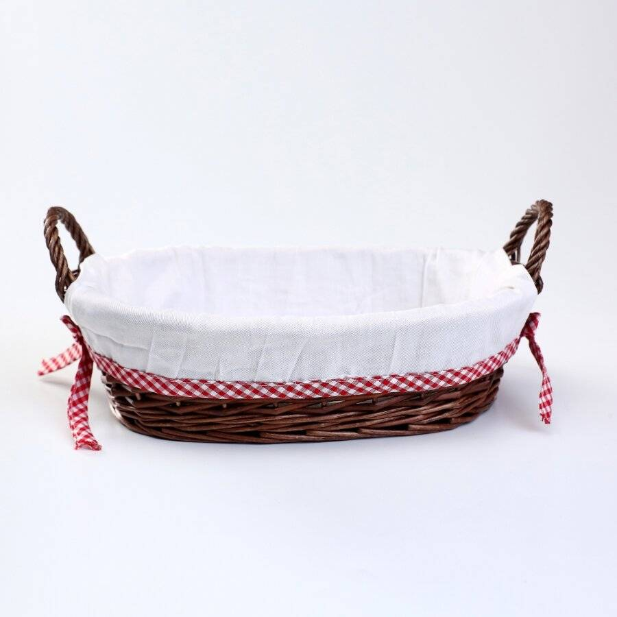 Woodluv Oval Wicker Hamper Basket With White Lining & Side Handles