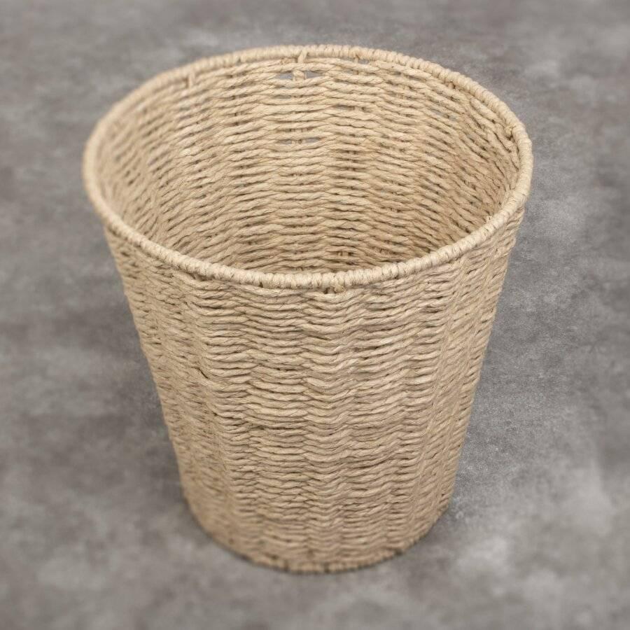 Woodluv Paper Rope Round Waste Paper Basket Bin - Natural