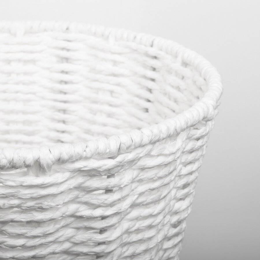 Woodluv  Paper Rope Round Waste Paper Basket Bin, White