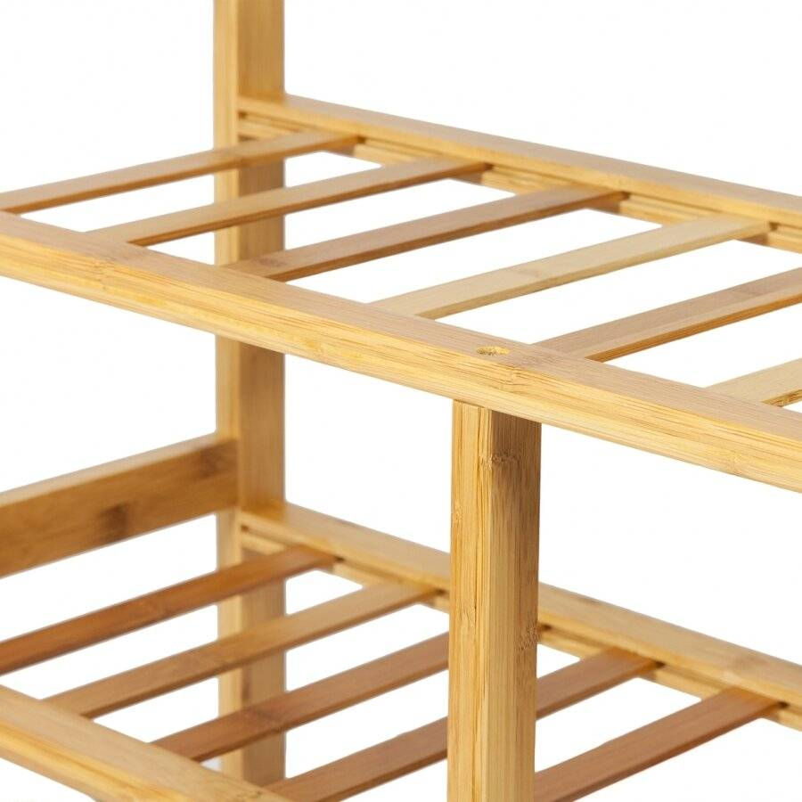 Woodluv 4 Tier Natural Bamboo Wood Shoe Storage Unit For Home