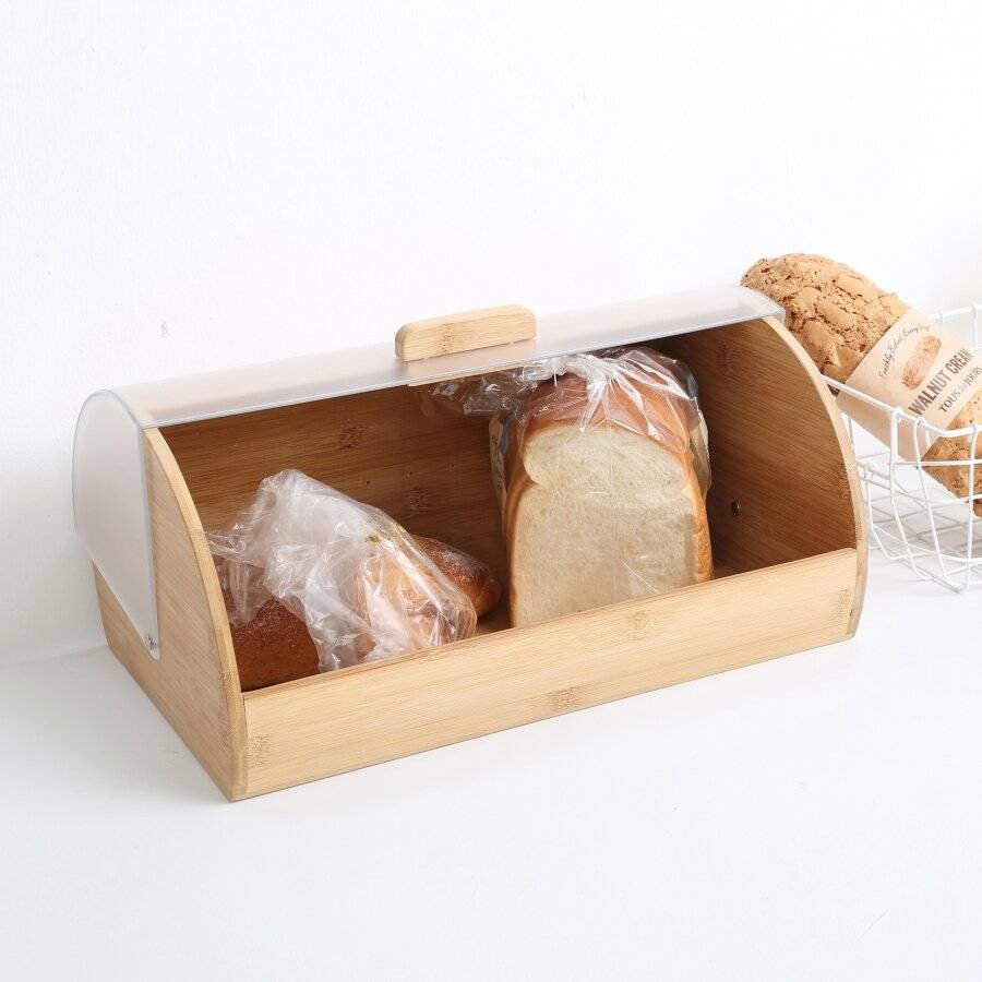 Woodluv Premium Quality Bamboo Bread Bin With Acrylic Lid