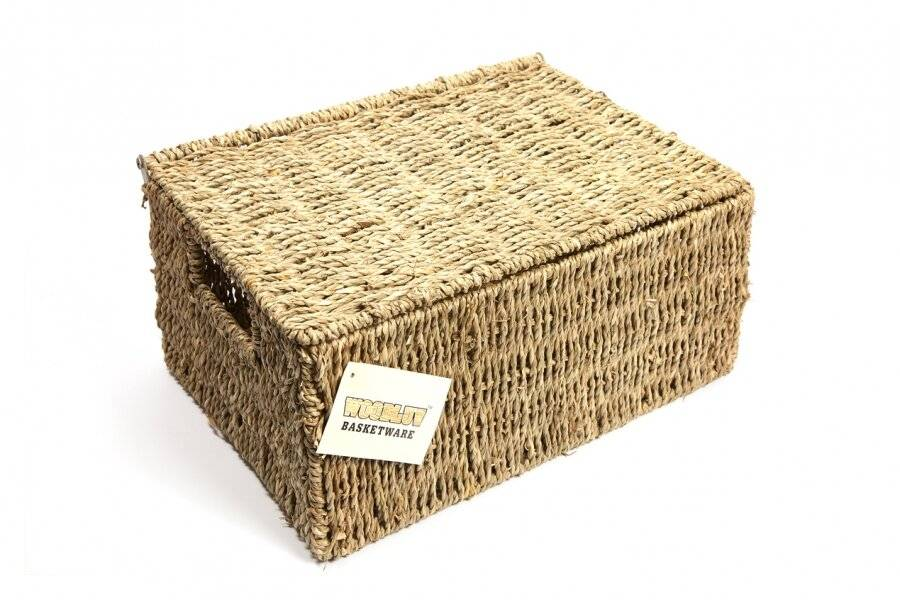Woodluv Premium Quality, Large Seagrass Storage Basket With Lid
