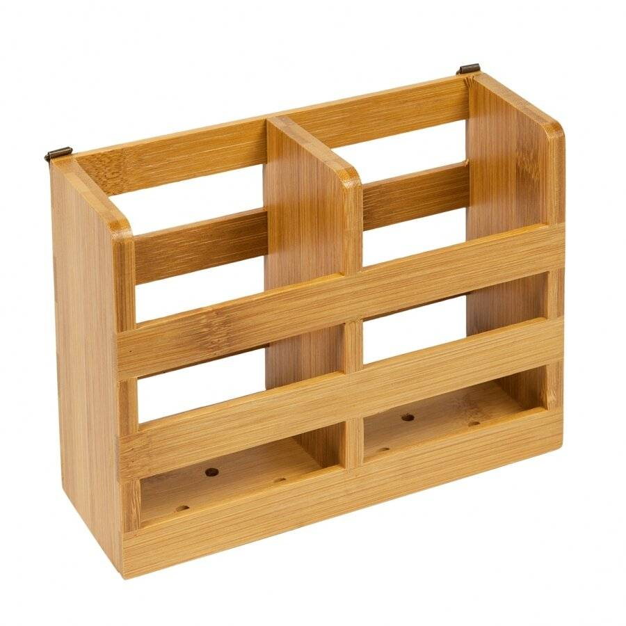 Woodluv Premium Quality Natural Bamboo Wood Cutlery Drainer