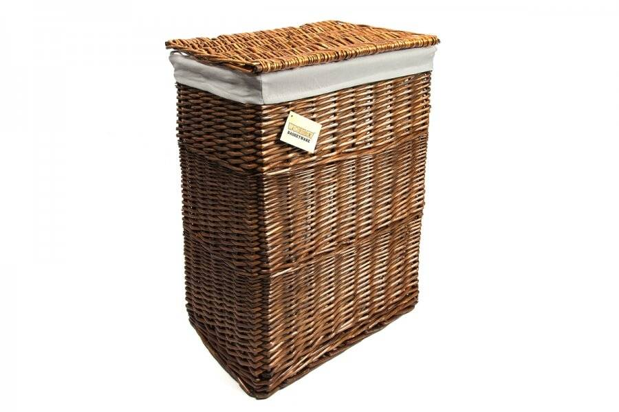 Woodluv Rectangular Brown Wicker Linen Laundry Basket - Large