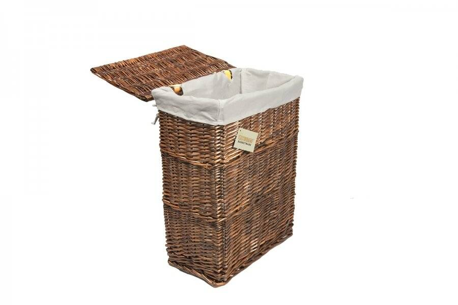 Woodluv Rectangular Brown Wicker Linen Laundry Basket - Medium
