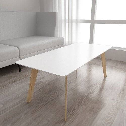 Woodluv Retro MDF Coffee Centre Table With Pine Legs  - White
