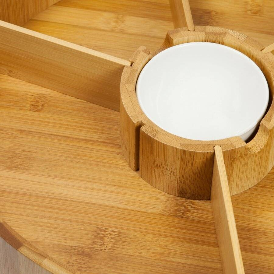 Woodluv Revolving Lazy susan Bamboo Tray With Removable Dividers