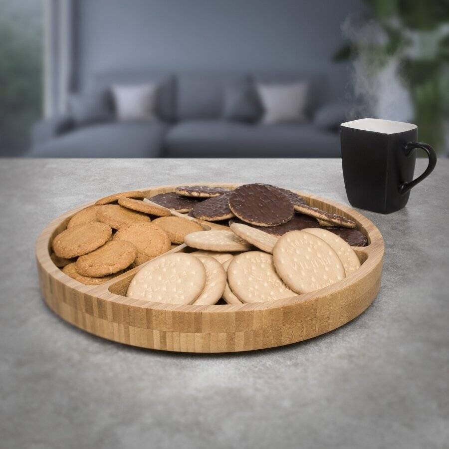 Woodluv Round Lazy Susan With 360° Rotating Plate Featuring 3 Sections