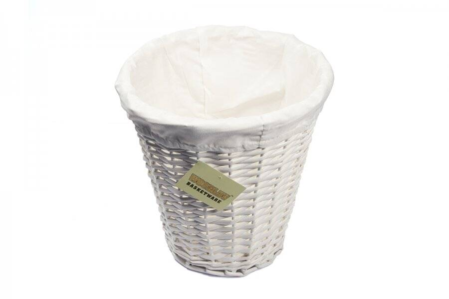Woodluv Wicker Waste Paper Round Bin With White Lining - White