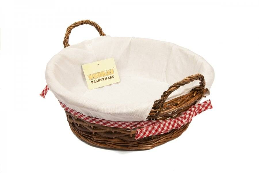 Woodluv Round Wicker Hamper Basket With White Lining and Side handles