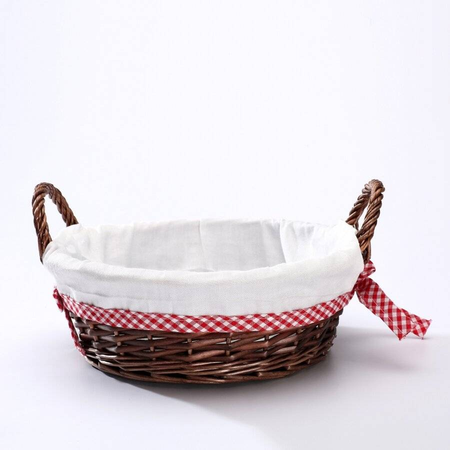 Woodluv Round Wicker Hamper Basket With White Lining & Side Handles