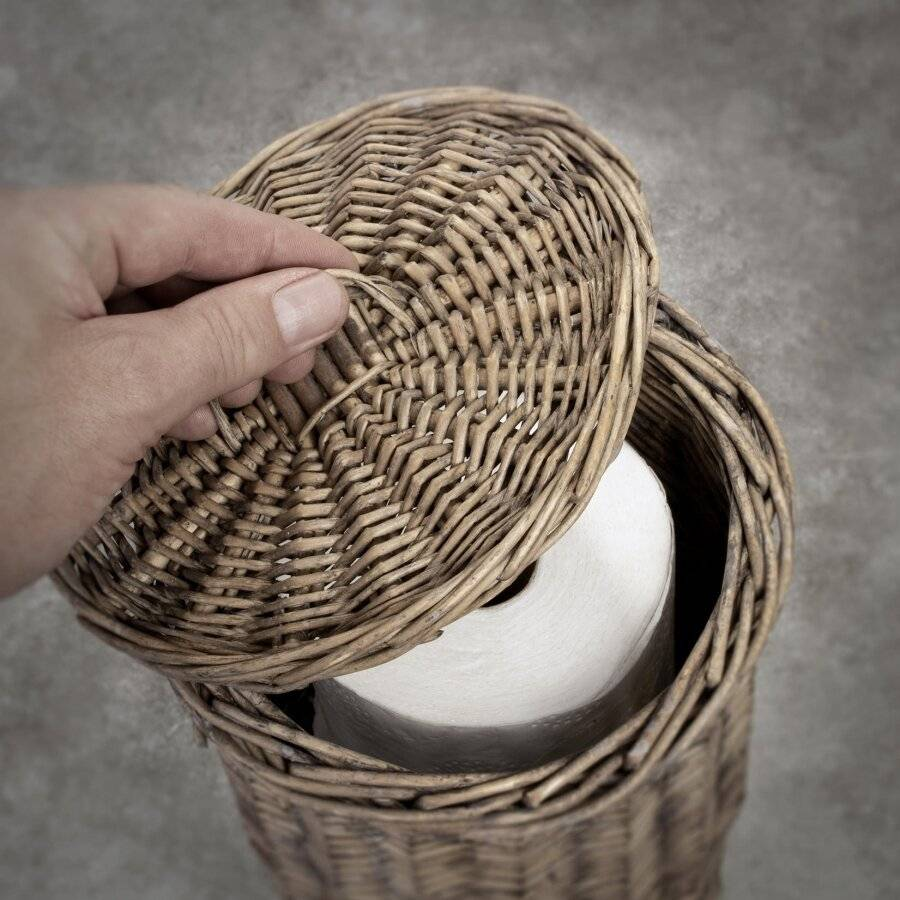 Woodluv Rustic Free Standing Wicker Toilet Roll Paper Holder
