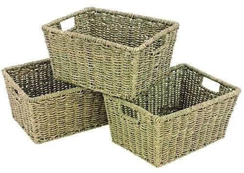Woodluv Seagrass Shelf Storage Baskets With Insert Handles