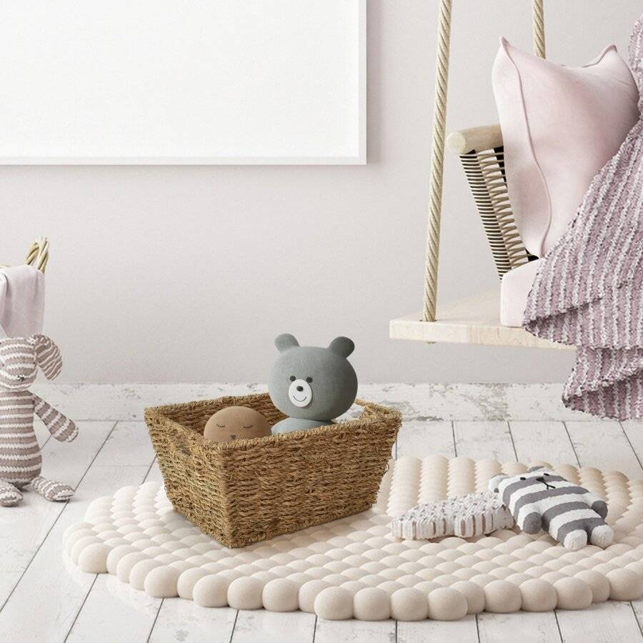 Woodluv Seagrass Shelf Storage Baskets With Insert Handles