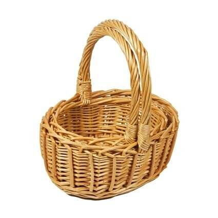 Woodluv Set Of 2 Oval Wicker Basket With Carry Handles, Natural
