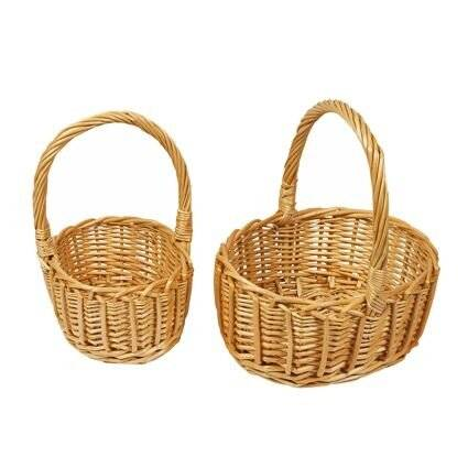 Woodluv Set of 2 Oval Wicker Basket With Carry Handles - Natural