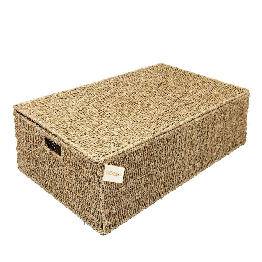 Woodluv Set of 2 Seagrass Under Bed Storage Box - Large & Extra Large