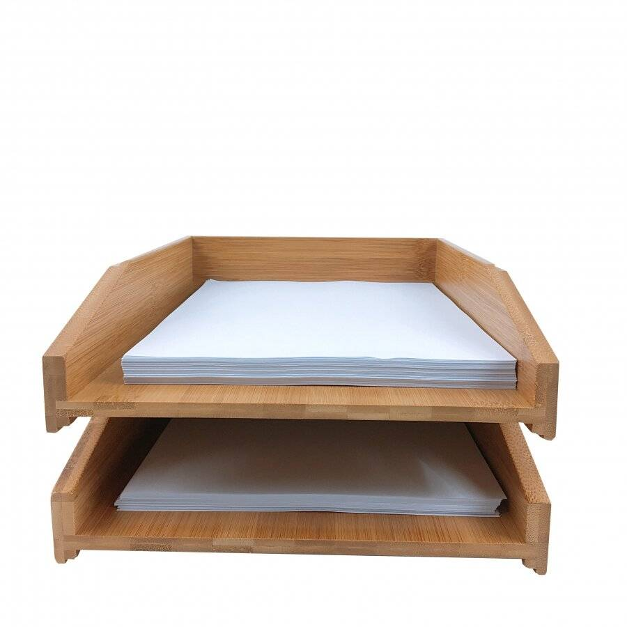Woodluv Set of 2 Stackable Bamboo A 4 size Letter Tray