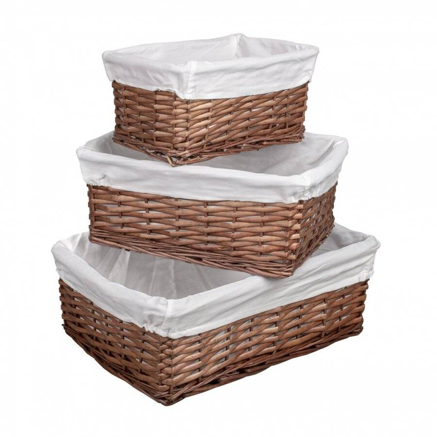 Woodluv Set Of 3 Dark Brown Wicker Storage Basket With Lining