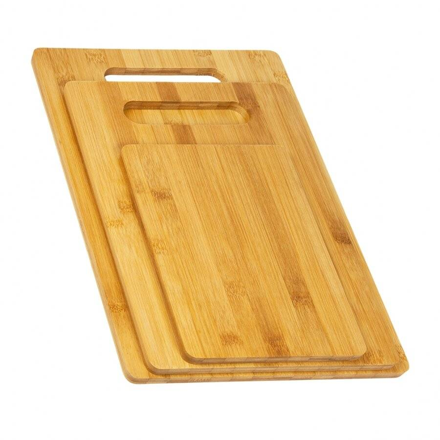 Woodluv Set of 3 Eco Friendly, Strong Durable Bamboo Chopping boards