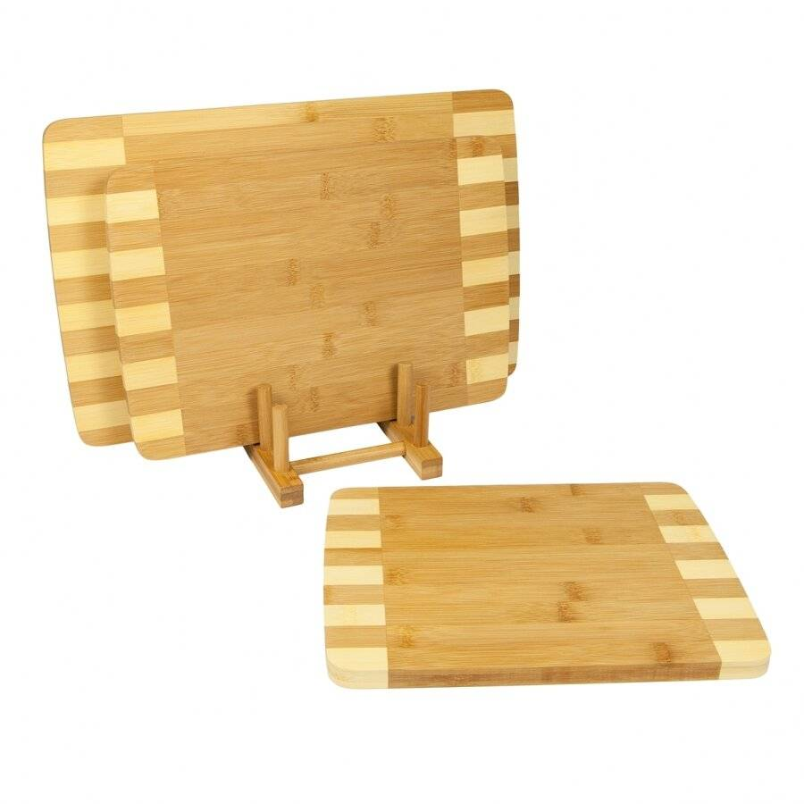 Woodluv 3 Inlaid Bamboo Wooden Chopping Boards With Storage Rack
