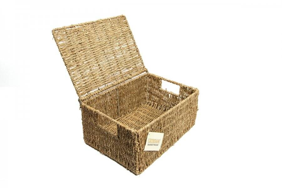 Woodluv Set Of 3  Natural Seagrass Storage Basket With Lid