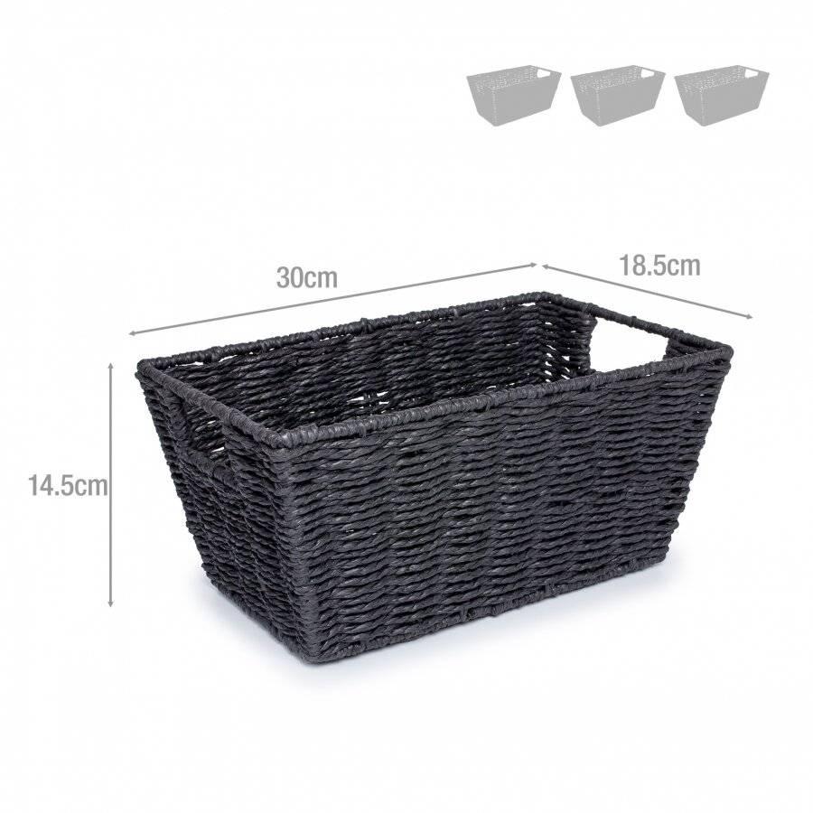 Woodluv Set of 3 Paper Rope Storage Basket , Black