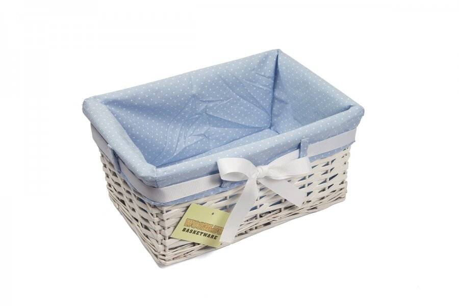 Woodluv Set of 3 Rectangular White Willow Basket with Blue Dot Lining & Ribbon