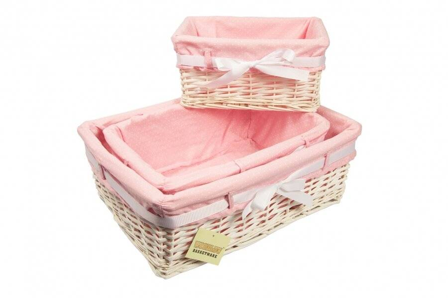 Woodluv Set of 3 White Willow Basket With Pink Dot Lining & Ribbon