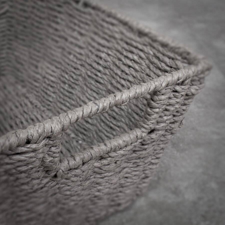 Woodluv Set of 3 Stackable Paper Rope Basket - Grey