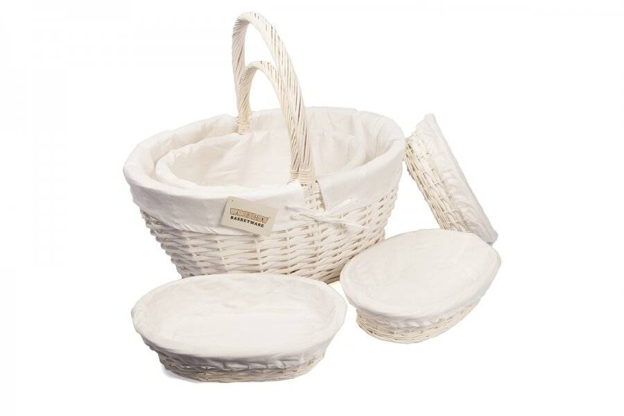 Woodluv Set of 3 White Oval Wicker Storage Basket With Lining & Handle
