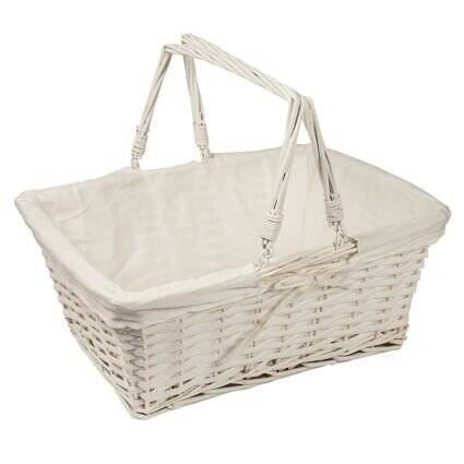 Woodluv Set OF 3 White Rect Wicker Hamper Storage Gift Basket With Handle