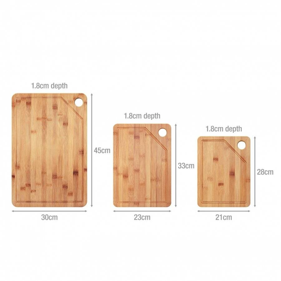 Woodluv Set of 3 With STAND Bamboo Chopping Board With Juice Grooves