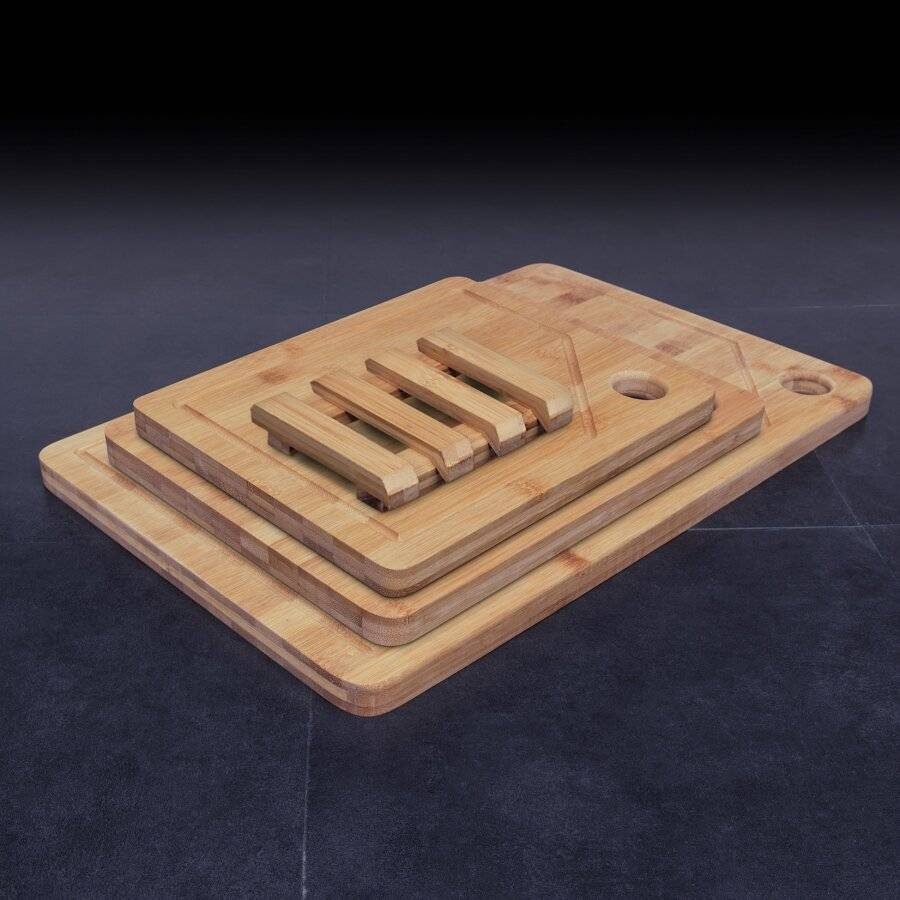 Woodluv 3 Anti Bacterial Chopping Boards With Juice Grooves & Stand