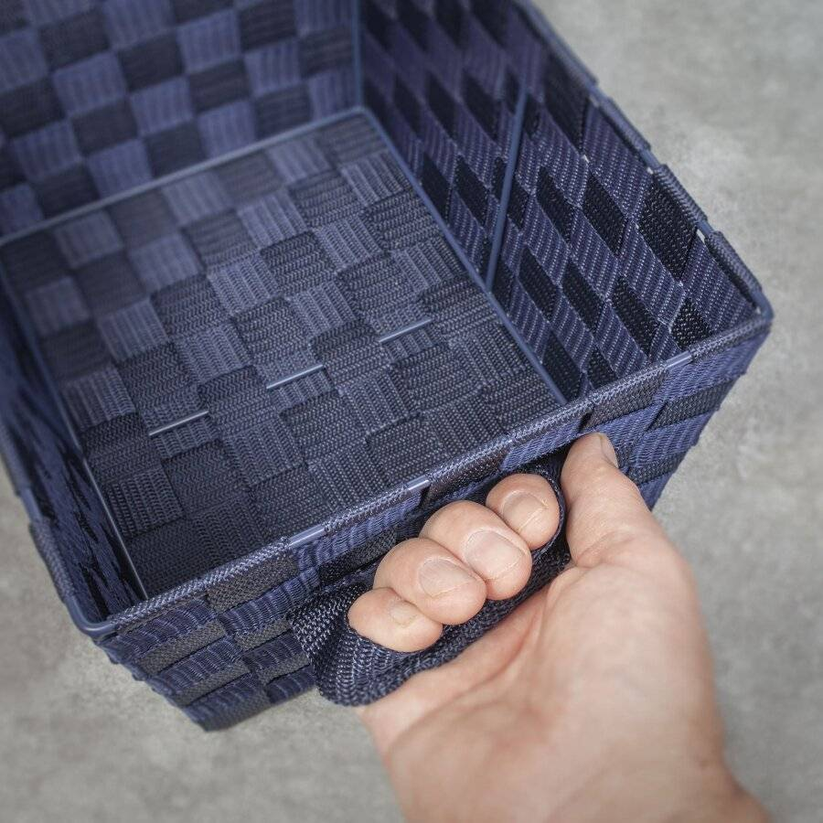 Woodluv Set of 3 Woven Strap Storage Basket - Navy Blue