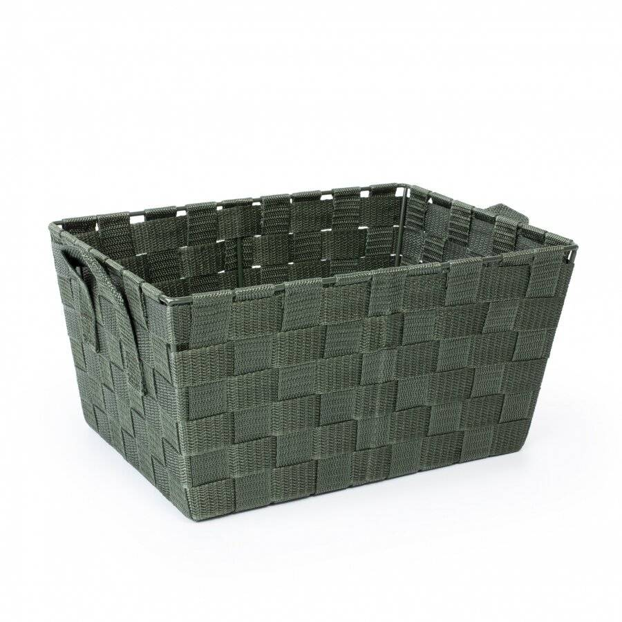 Woodluv Set of 3 Woven Strap Storage Basket With Carry Handles- Green