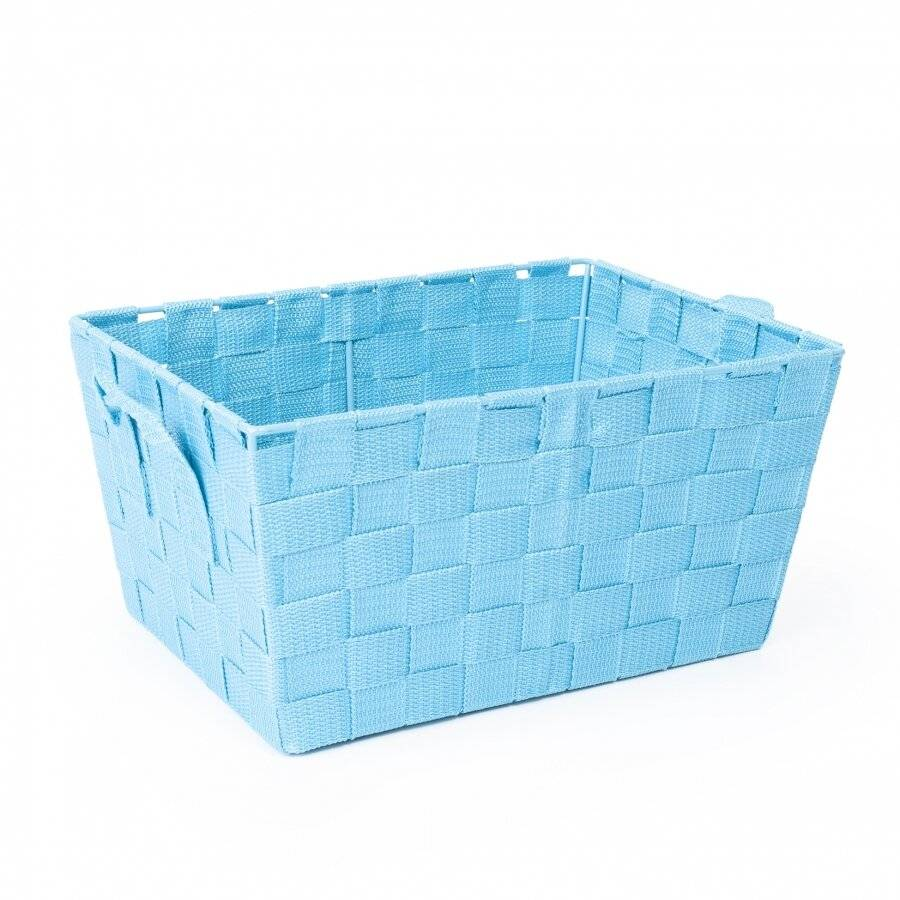 Woodluv Set of 3 Woven Strap Storage Basket With Carry Handles - Teal