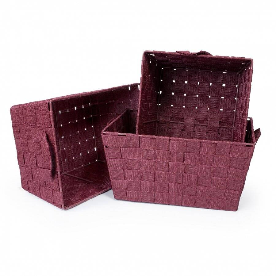 Woodluv Set of 3 Woven Strap Storage Basket With Carry Handles  - Wine