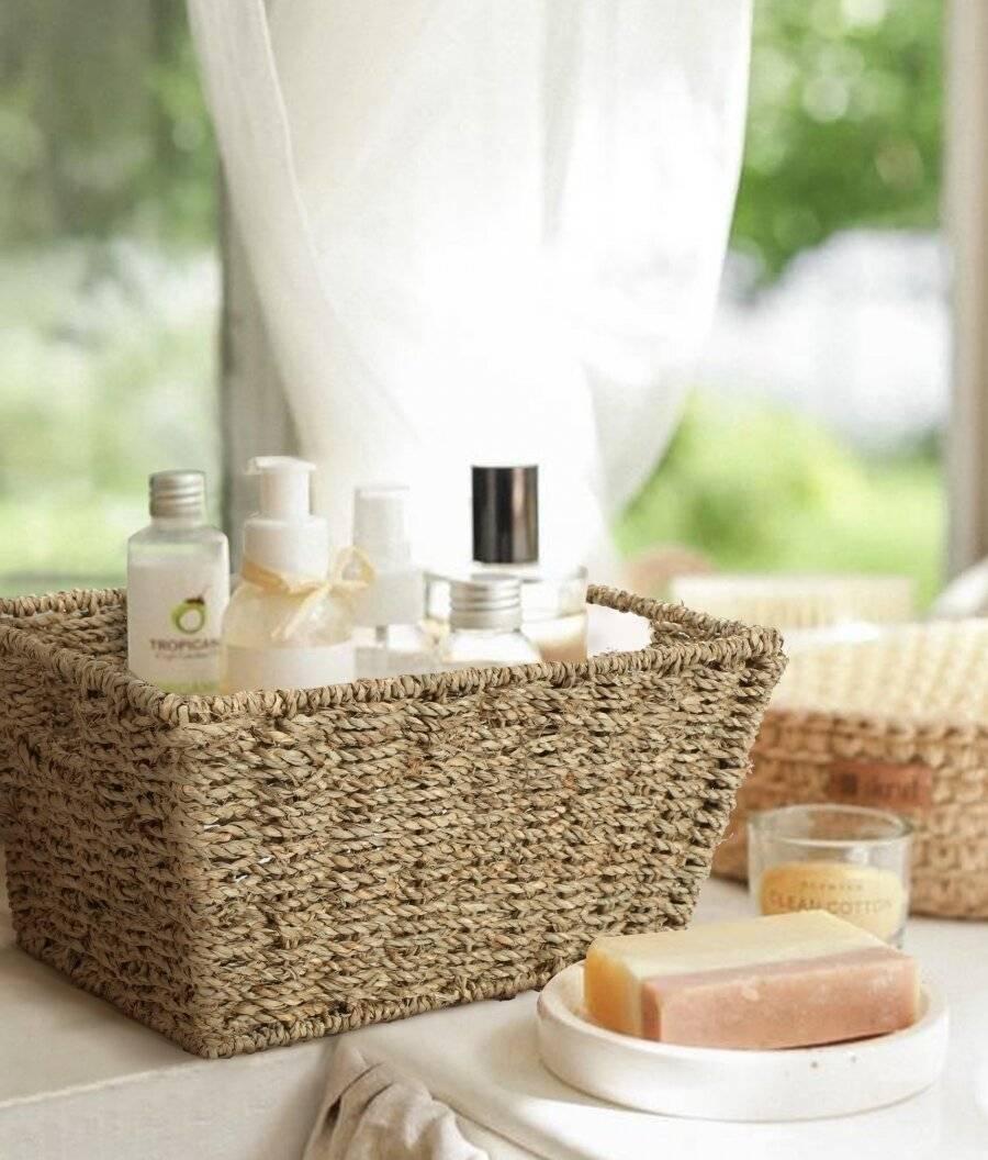 Woodluv Set of 4 Eco Friendly  Seagrass Shelf Storage Baskets
