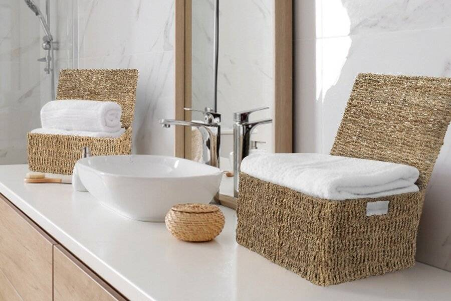 Woodluv Set Of 4 Natural Seagrass Storage Basket With Lid