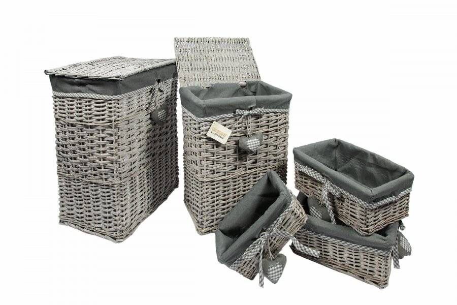 Woodluv Set Of 5 Grey rectangular Wicker laundry Basket With Lining