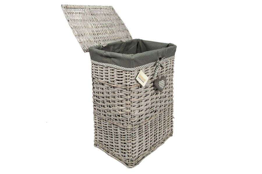 Woodluv Set of 5 Rectangular Wicker Laundry Basket With Lining - Grey