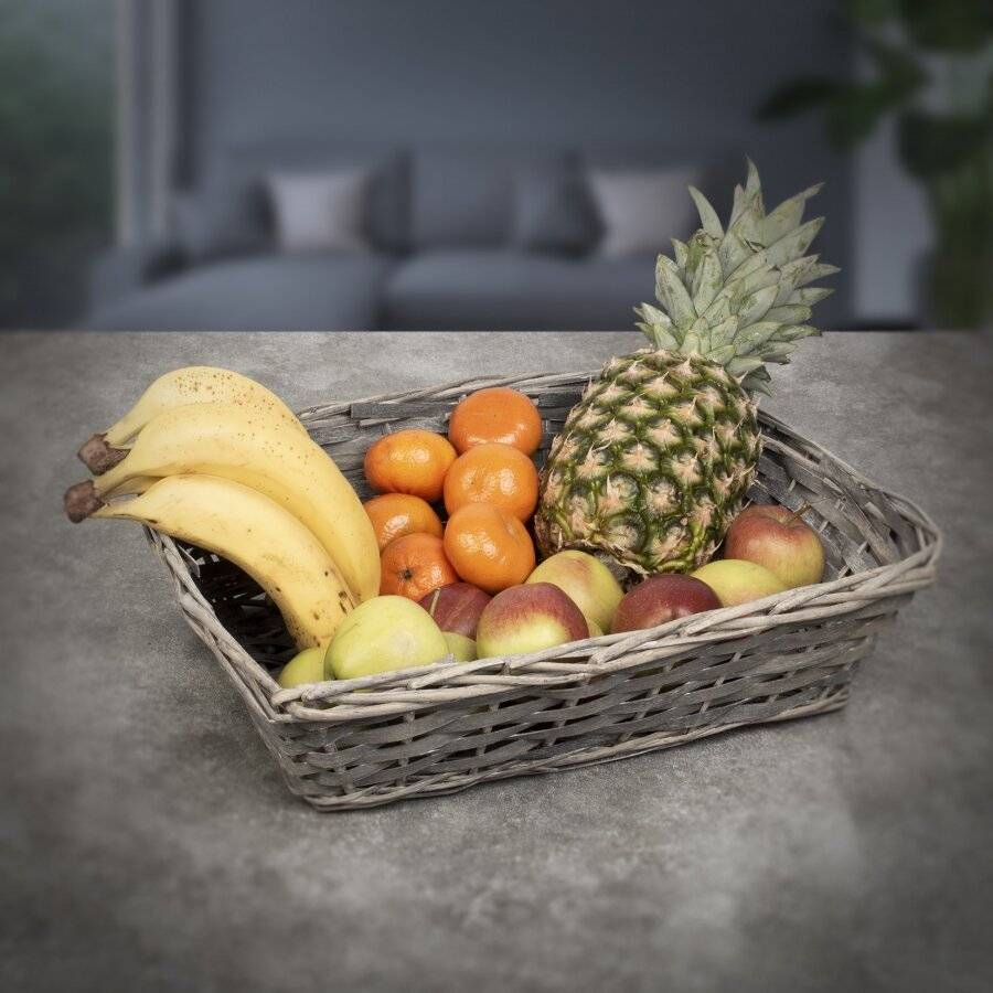 Woodluv Set Of 5 Wicker Wood Gift Basket Storage Hamper Display Tray, Grey
