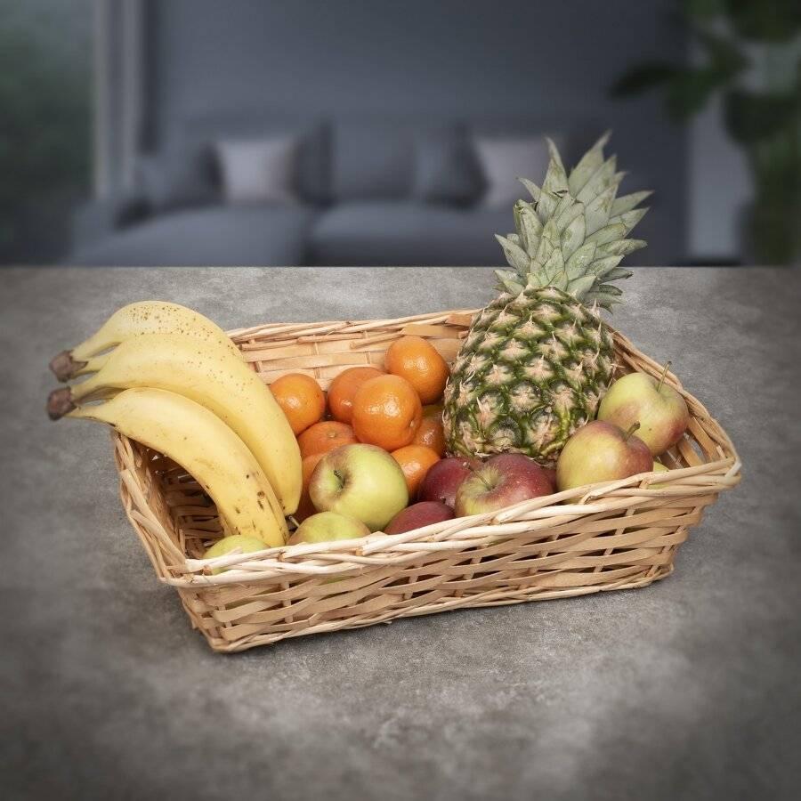 Woodluv Set Of 5 Wicker Wood Gift Basket Storage Hamper Display Tray, Natural