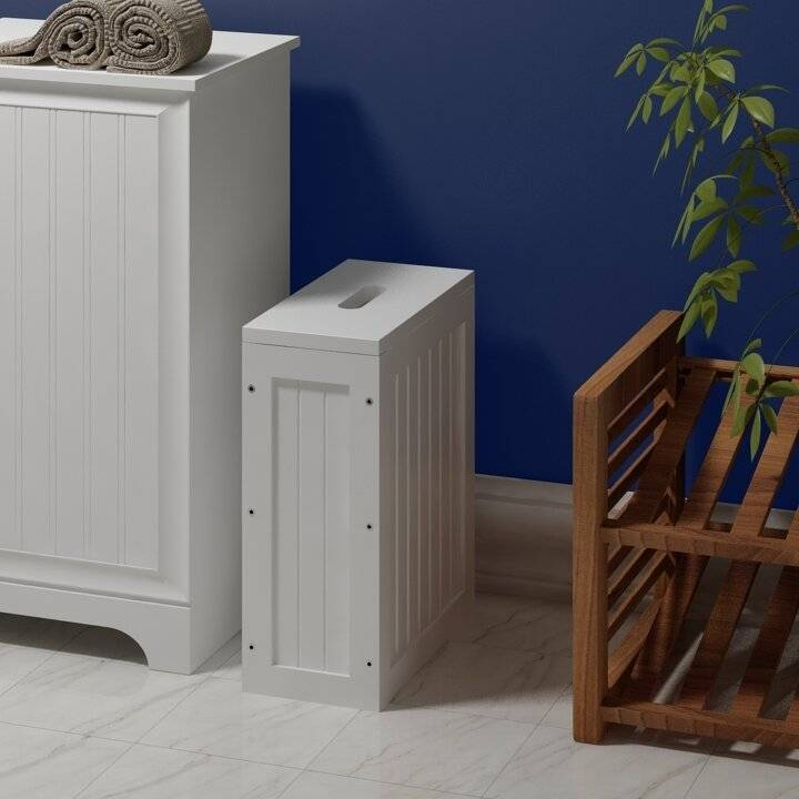 Woodluv Slimline MDF Multi Purpose Bathroom Storage Unit-White
