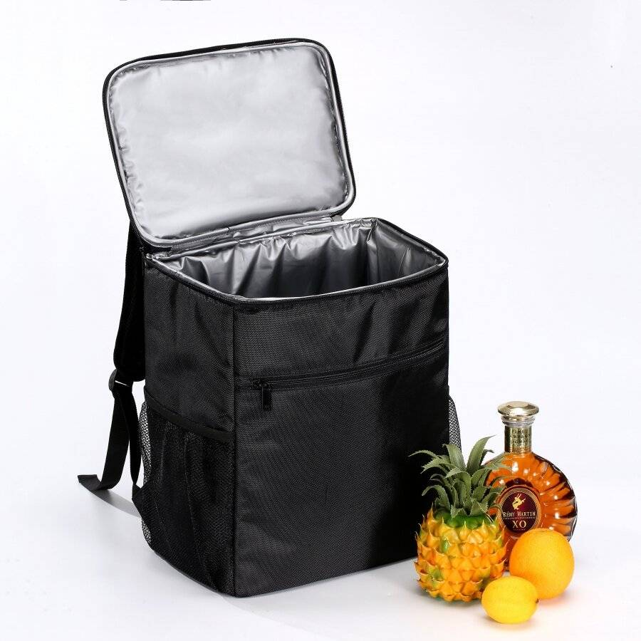 Woodluv Black Outdoor Cooler Unisex Backpack with PEVA Lining