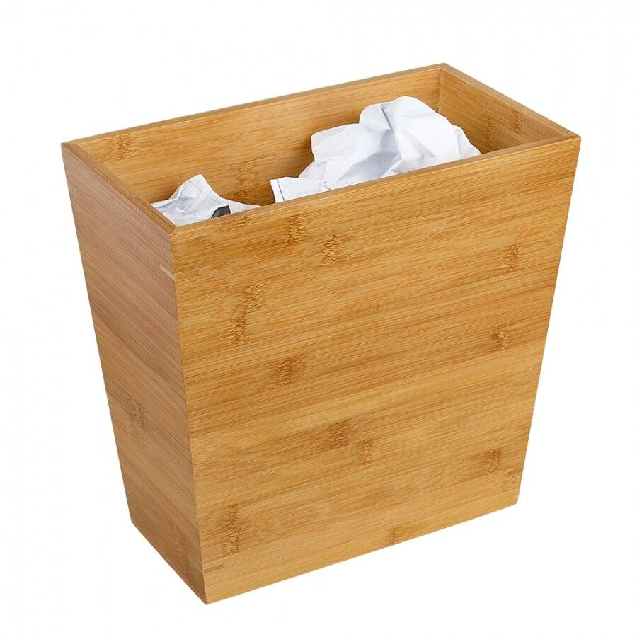 Woodluv Slimline Range Bamboo Wood Rubbish Waste Paper Bin