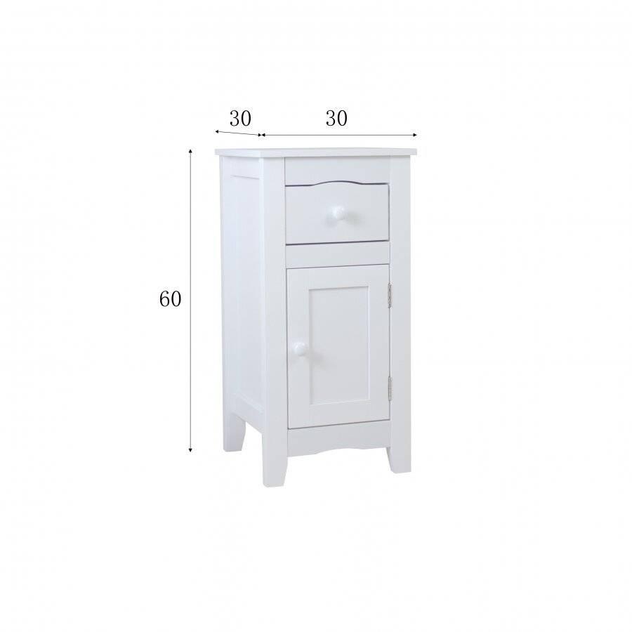 Woodluv Slimline Range Bedside Table Cabinet - White