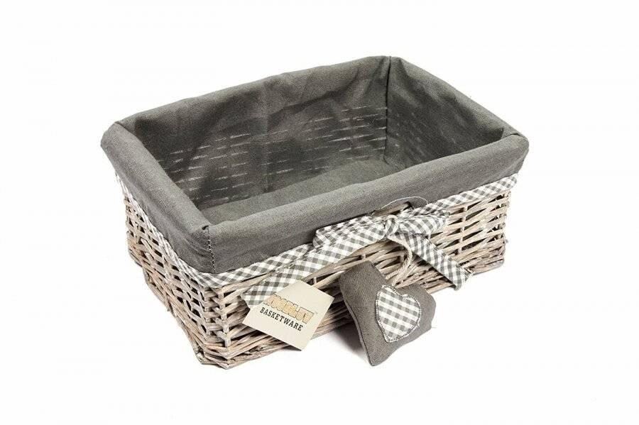 Woodluv Small Wicker Storage Shelf Basket With Lining - Grey